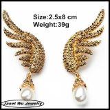2014의 18k 금 도금 모조 다이아몬드 날개 하락 귀걸이
