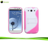S La ligne S façonné PC+TPU STAND Support de couvrir les cas pour Samsung Galaxy Siii J9300 / i747 avec Violet+couleur blanche