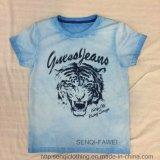 스퀘어 6319 아이 동점 염료 세척 옷에 있는 호랑이 인쇄를 가진 소년 파란 t-셔츠