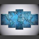 5 طبع [بكس/ست] زرقاء تجريديّ خريطة [بينتينغ كنفس] [برينت رووم] زخرفة طبلة ملصقة صورة نوع خيش [مك-060]