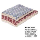 연약한 매트 애완 동물 침대 (YF95239)를 인쇄하는 편리한 견면 벨벳 격자 무늬 패턴