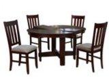 Cherry Arão sala de jantar com 4 cadeiras de jantar em madeira escura