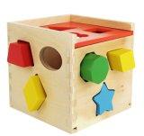 Würfel-festes Holz-Spielzeug-bunte Form, die Puzzlespiel mit 12 Formen sortiert
