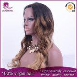 Ombre Cabello ondulado de color de cabello virgen Brasileña de encaje completo peluca