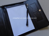 Black A4 PU Leather Envelop Folder with Button Closure