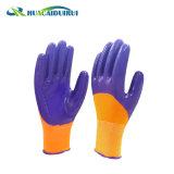 Gants enduits de sûreté de Guantes Nitrilo des nitriles 3/4 de doublure de polyester de la fabrication 13G de la Chine