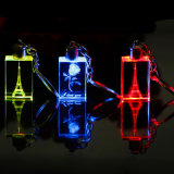 Kristall-LED Schlüsselring des kundenspezifischen Hochzeits-Bevorzugungs-Geschenk-, Glasschlüsselring