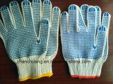 Перчатки синих хлопков анти- выскальзования безшовные отбеленные белые поставленные точки PVC