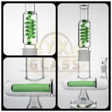 Conduite d'eau en verre de pipe de fumage de type classique avec la grande pipe parfaite spiralée en verre de recycleur et de percolateur