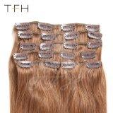 """18 """"のための女性中間のブラウン(#6)直毛100g/Set拡張のRemyの人間の毛髪クリップ8部分の"""