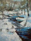 L'hiver la neige en toile de peinture de paysage forestier couteau Wall Art pour décoration murale
