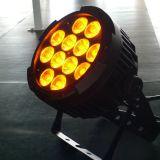 6en1 12PCS * 15W RGBWY + UV IP65 LED PAR para la iluminación de la etapa