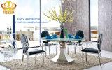 居間セット、ガラスダイニングテーブルおよび椅子