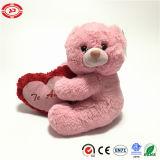 Brinquedo macio do luxuoso cor-de-rosa do urso da peluche com o presente de Valentins do coração