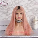 Pruiken van het Menselijke Haar van het Kant van het Haar van de Kleur van Ombre de Roze Braziliaanse Indische Maagdelijke Volledige