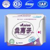 Serviette hygiénique lourde de flux avec les garnitures de coton organiques pour la serviette de femmes avec la marque de distributeur (A240)