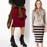 Женщин моды 100% хлопок Джерси юбки пальчикового типа на заводе