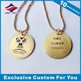 Tag de cão livre relativo à promoção do projeto com palavras e imagem gravadas