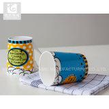 Tazza di caffè di ceramica di stampa di marchio di forma di v 12oz White Mug or Company