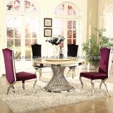 食堂の普及した大理石の上のステンレス鋼ベース円卓会議