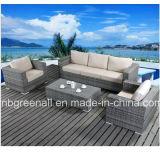Conjunto de sofá de enjôle de móveis de vime de moldura de alumínio para jardim (9059)