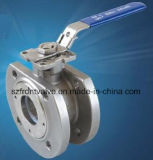 Precisione Casting Stainless Steel 1PC Wafer Type Flanged Ball Valve