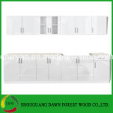 Gabinete de cozinha branco das portas dos armários da parede da base do dissipador da unidade do gabinete de cozinha do lustro elevado