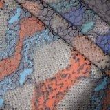 Tessuto impresso animale del pattino del sacchetto del cuoio sintetico dell'unità di elaborazione del Faux della pelle di serpente