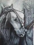Ручная работа лошадь картины маслом черного и белого цвета для украшения