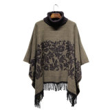 Lady Fashion Paisley Jacquard Acrílico Knitted Winter Turtleneck Poncho (YKY4509)