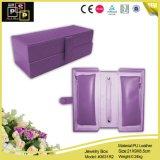 분홍색 색깔 PU 가죽 호화스러운 손은 못을 상자에 넣는 (6008)