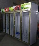5 puertas en posición vertical Mostrar nevera para supermercado/Shopping Mall