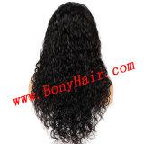 Zwarte Kleur van de Golf van de Pruik van het Kant van het Menselijke Haar van 100% de Volledige Natuurlijke