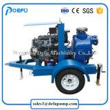 2대의 바퀴 트레일러를 가진 진창 이동 디젤 엔진 각자 프라이밍 하수 오물 펌프
