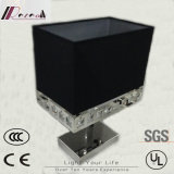 LED de tecido preto e lâmpada de mesa de cristal