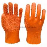 Более крупные частицы резины точек против скольжения перчатки из ПВХ