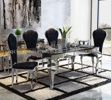 La parte superior de piedra modernas populares las patas de acero inoxidable Mesa de Comedor silla