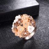 Più nuovo anello di barretta placcato oro dei monili della Rosa dello smalto e della resina