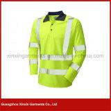 Nach Maß hallo Kraft-Reflektor-gelbe Arbeitspolo-Hemden für Männer (P06)