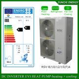 O quarto 12kw/19kw/35kw do medidor do aquecimento de assoalho 100~350sq do inverno da tecnologia -25c de Evi Auto-Degela calefator de água rachado do inversor da C.C. da bomba de calor