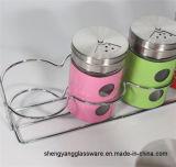 Utensilios de cocina decorativos del tarro de la especia del crisol de la condimentación de la venta de la botella de cristal de la especia del color caliente de la botella