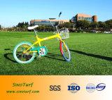 Relvado artificial da grama (fio da forma de C) com luz - fio Curly do amarelo e da cor de Brown para o parque ao ar livre da paisagem