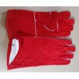 Rojo cuero de vaca Cuero de mano de la soldadura de Seguridad Industrial Guantes de trabajo