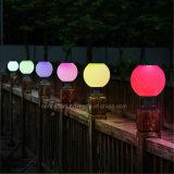Al aire libre Solar RGB LED de colores blanco+8 Pilar Solar de forma de bola de luz de lámpara de paisaje