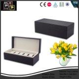 Mão feita sob encomenda do fornecedor da fábrica de China - caixa de relógio de couro preta feita longa (7004)