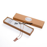 Fabricante de empaquetado del rectángulo del regalo de la joyería del papel de Kraft con la etiqueta engomada blanca