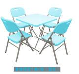 Outdoor meubles de jardin en résine de plastique blanc Round Table de mariage de pliage
