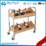 2 niveles de almacenamiento de vino de Madera diseño Horizontal Rack con ruedas