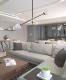 Lâmpada de vidro moderna do teto do pendente da sala de jantar do borne Gold+Black