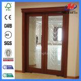 Puertas francesas interiores con el vidrio del vidrio helado para las puertas internas